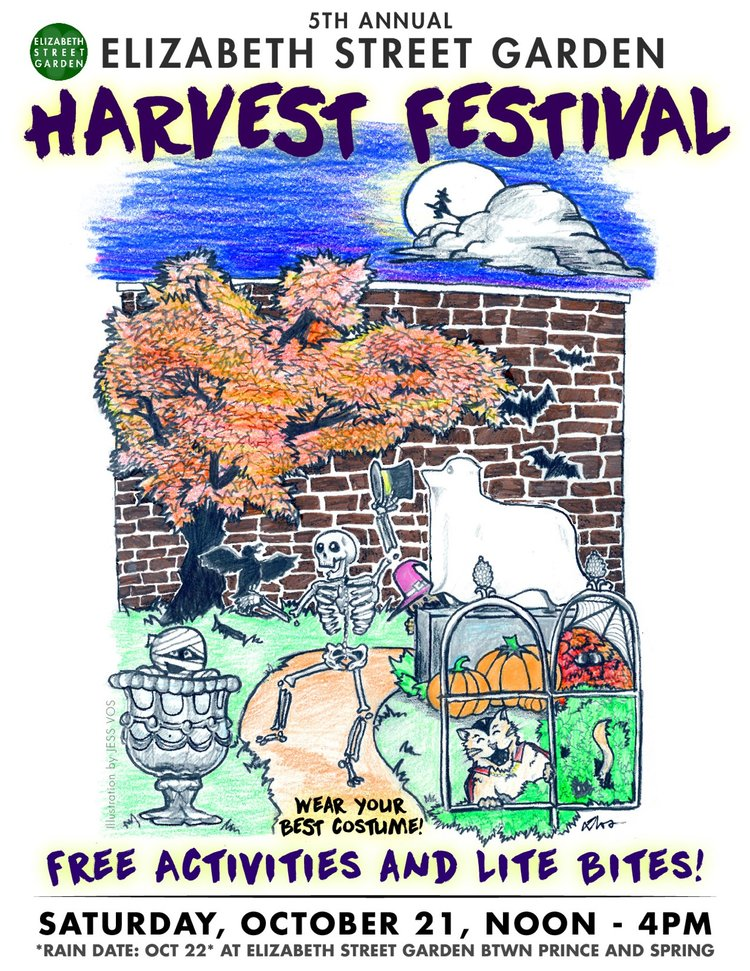 2017 Elizabeth Street Garden Harvest Festival Promotional Flyer - Illustration by Jess VosFormatting & Color by Ella Barnes