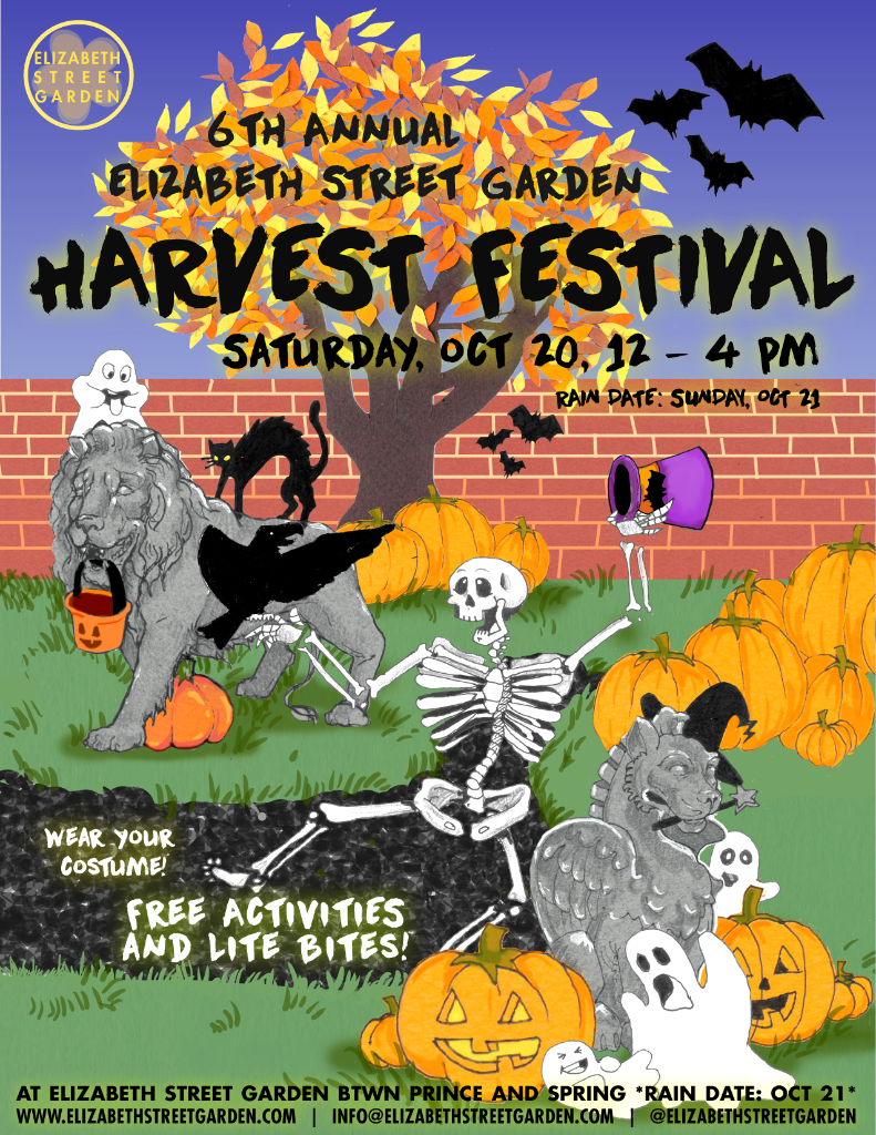 2018 Elizabeth Street Garden Harvest Festival Promotional Flyer - Illustration by Jess VosText Formatting by Ella Barnes