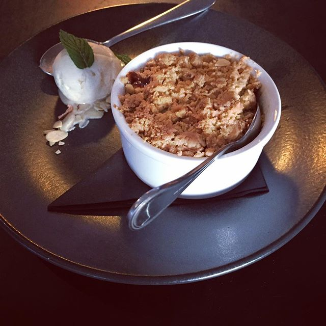 One of our new desserts coming on our winter menu; sake poached nashi pear and rhubarb crumble with toasted almonds and vanilla bean ice cream. Managed to sneak a quick picture before it got devoured by the girls! @alivatewanaka #whatapear #nicepear #sweettooth #nashibutnice #poachedpear #sake #rhubarb #almond #vanillabean #asianfusion