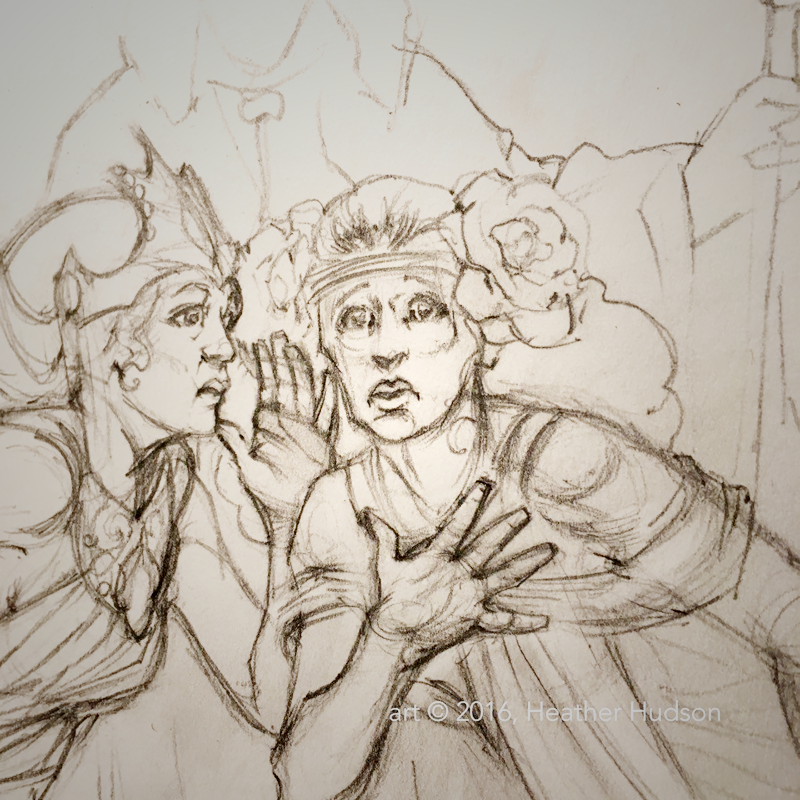 Detail from a work in progress, a preliminary sketch for one of the images from the King in Yellow Xmas project.