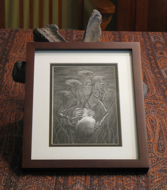 "The art measures 5""x7"", but the wooden frame brings it to 9""x 11"".  It's now available for 90 USD."