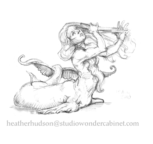 Original mermaid sketch, waiting for the artist to come back and do something with it...