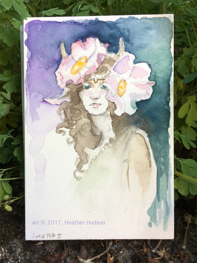 Rose Faerie, final version - sketched on Canson cold-pressed watercolor paper.  Sans Acide!  Pour tout les techniques humids!