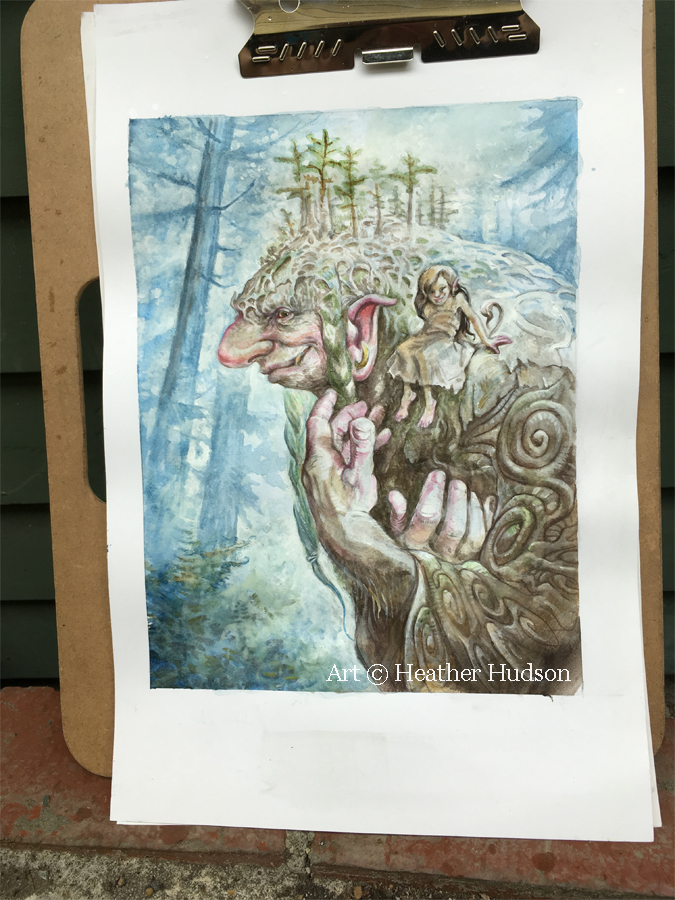 Nurse Log Troll outside being photographed on a typical Seattle day - with enough acrylic white paint, watercolor has less to fear from a gentle rain...