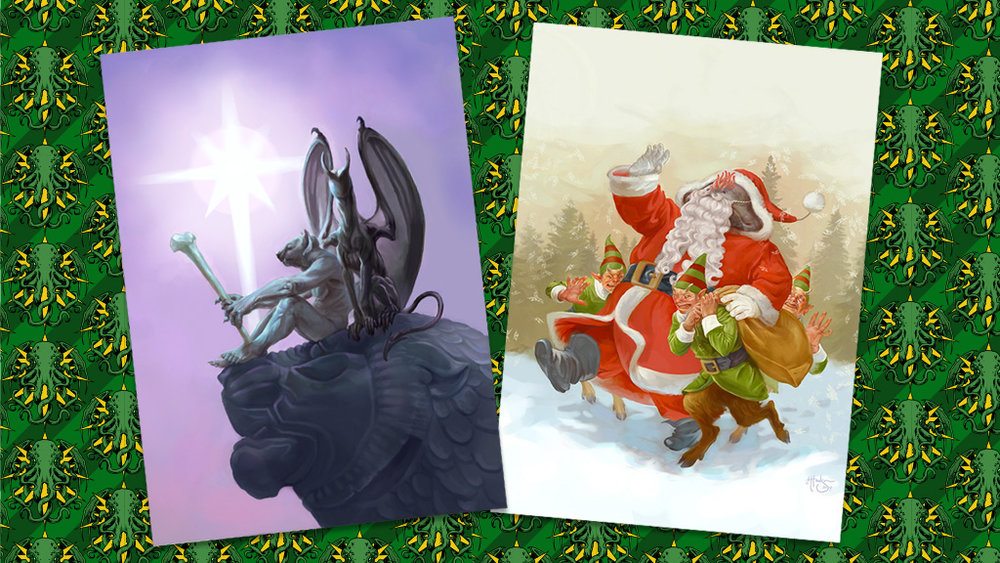 "The first two of 10 original card illustrations created for ""Dreamlands Xmas"" this year..."