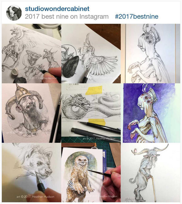 "Hilariously, my ""Best Nine"" Instagram pics of 2017, as grabbed on the evening of June 3, 2018, include two pieces done at the very end of the year, one of them actually painted on New Year's Eve.  It's as if 2018 couldn't wait to start clawing its way upward to better things."