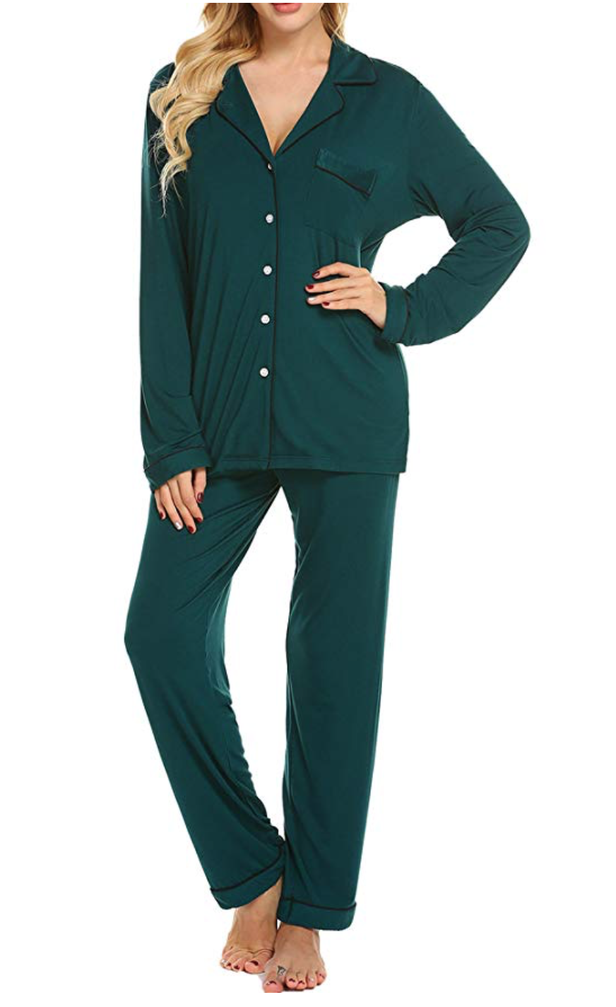 My favorite pajamas of all time - They are so soft and comfy. I have worn them at least once weekly for almost a year and a half and they're still holding up. I like to wear them with a tank underneath. (Not an announcement. I just like the length for layering)Pro tip: buy PJs in a color that complements your skin tone. For someone pale like me, jewel tones work. Mine are in purple, which doesn't seem to be available at the moment so go with solid green instead.