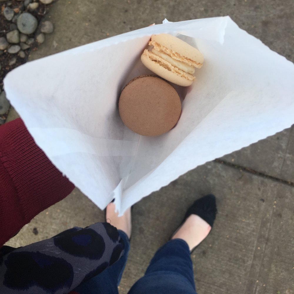 Macaroons for the road after a tea date with girlfriends. This was a very social week for me. A+