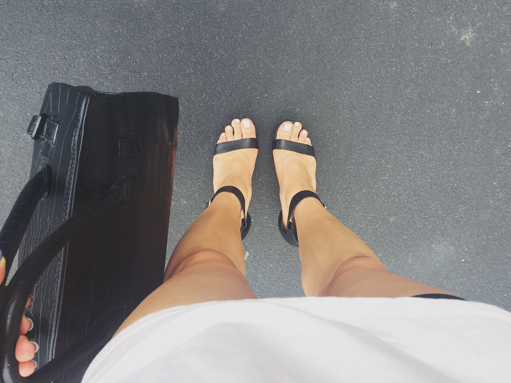 White polish with black shoes 👌