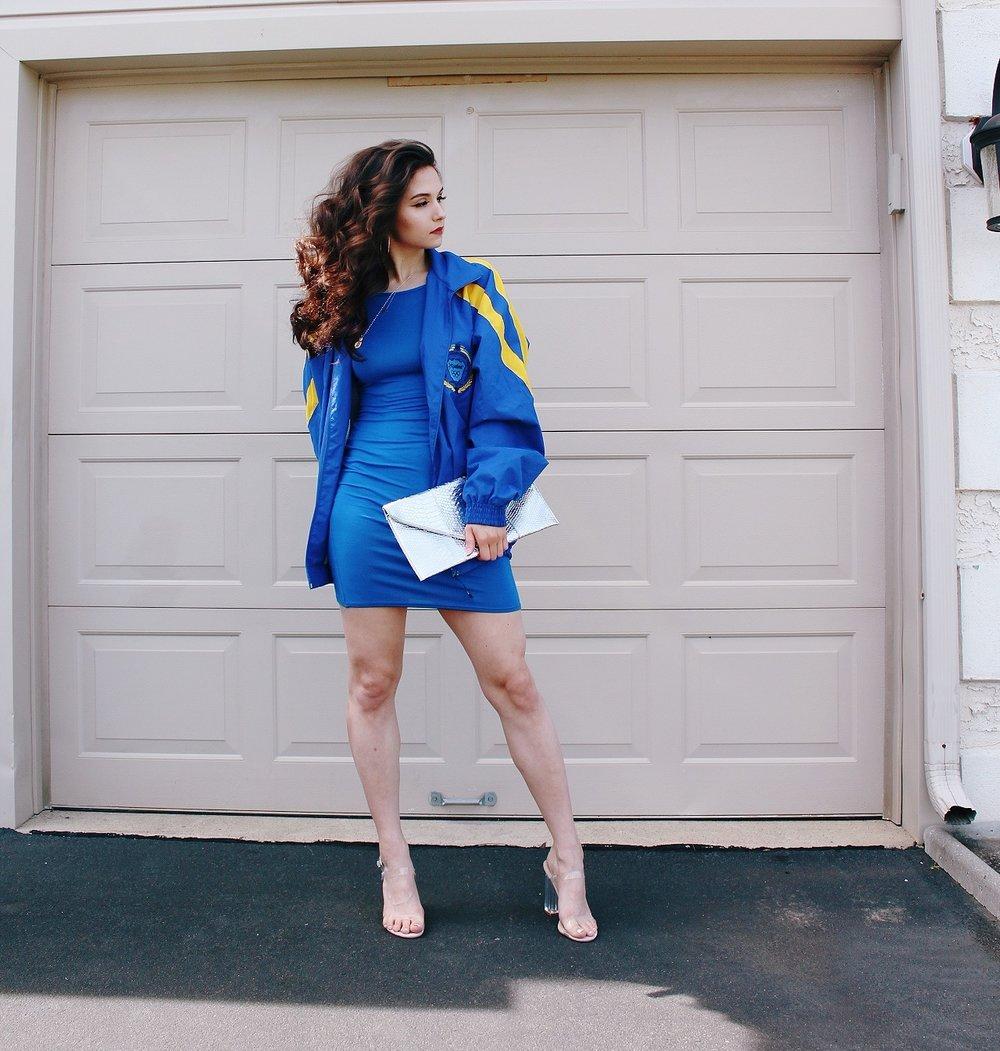 oversized coat, bodycon dress