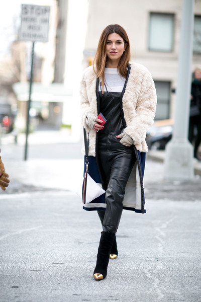 Leather Overalls, Furry Jacket