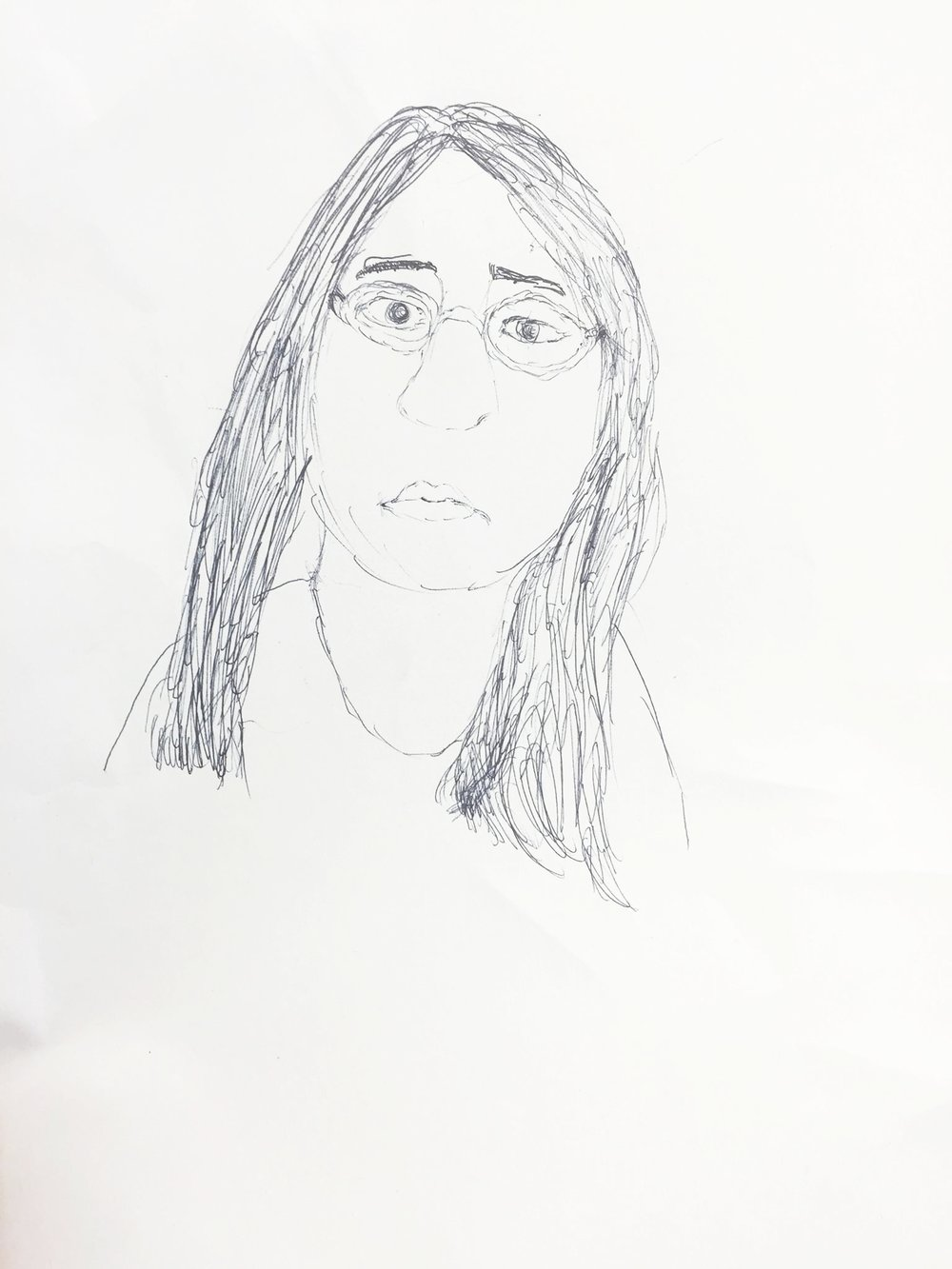 a drawing of me by isaac, a 7th grade student i once taught.