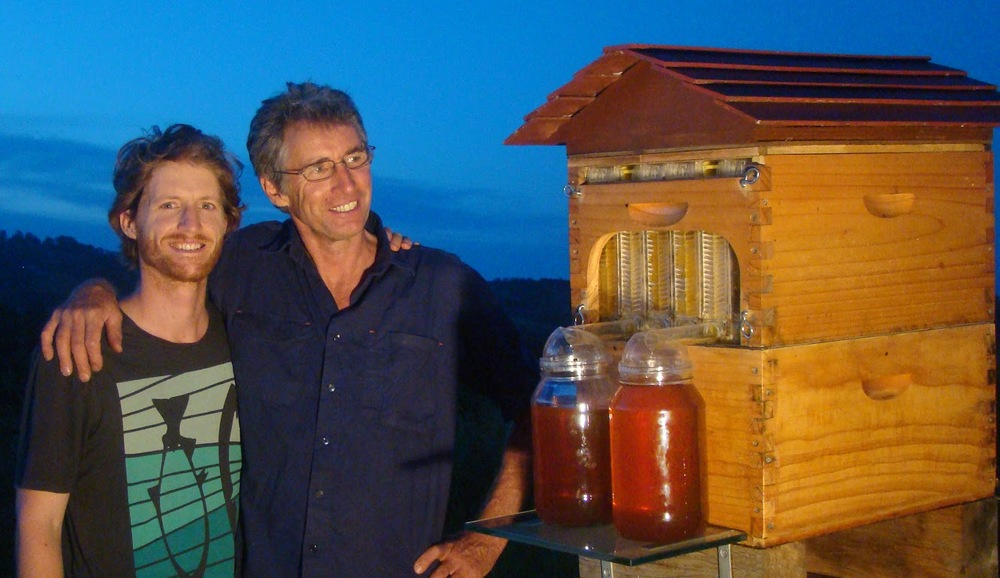 Cedar and Stuart Anderson, from Northern NSW, with their exciting new hive technology, allowing honey to be extracted without opening the hive