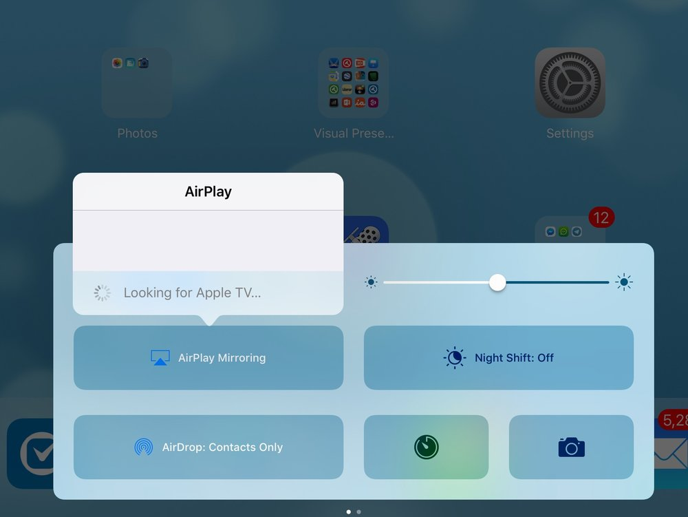 Airplay Mirroring - When an Apple TV is connected to the same wireless connection as your iPad, it will show up here, indicating it is ready for project your iPad image.