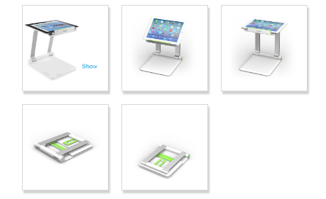 Belkin portable Tablet Stage - This is a smaller, more portable version of a light table.  You can also use it to simply hold your iPad in place when using it at a podium or from a table.