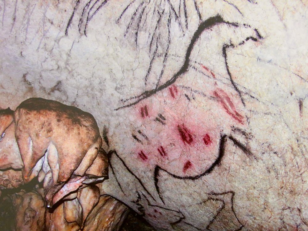 Stone Age depiction of a pregnant mare, Pileta Cave