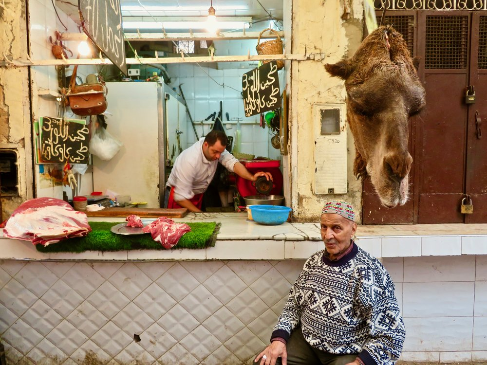 Specialty butcher! He sells camel meat...