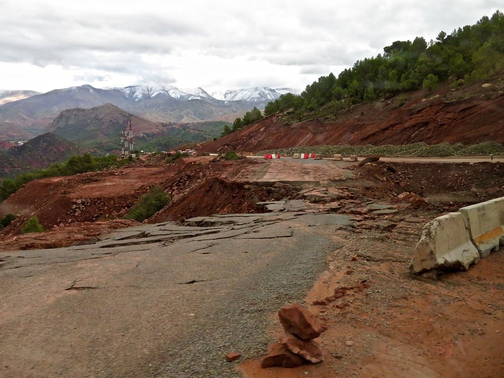 Roads washed away in the Atlas Mountains
