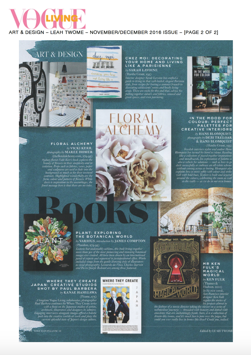 FLORAL ALCHEMY IN VOGUE LIVING DECEMBER 2016
