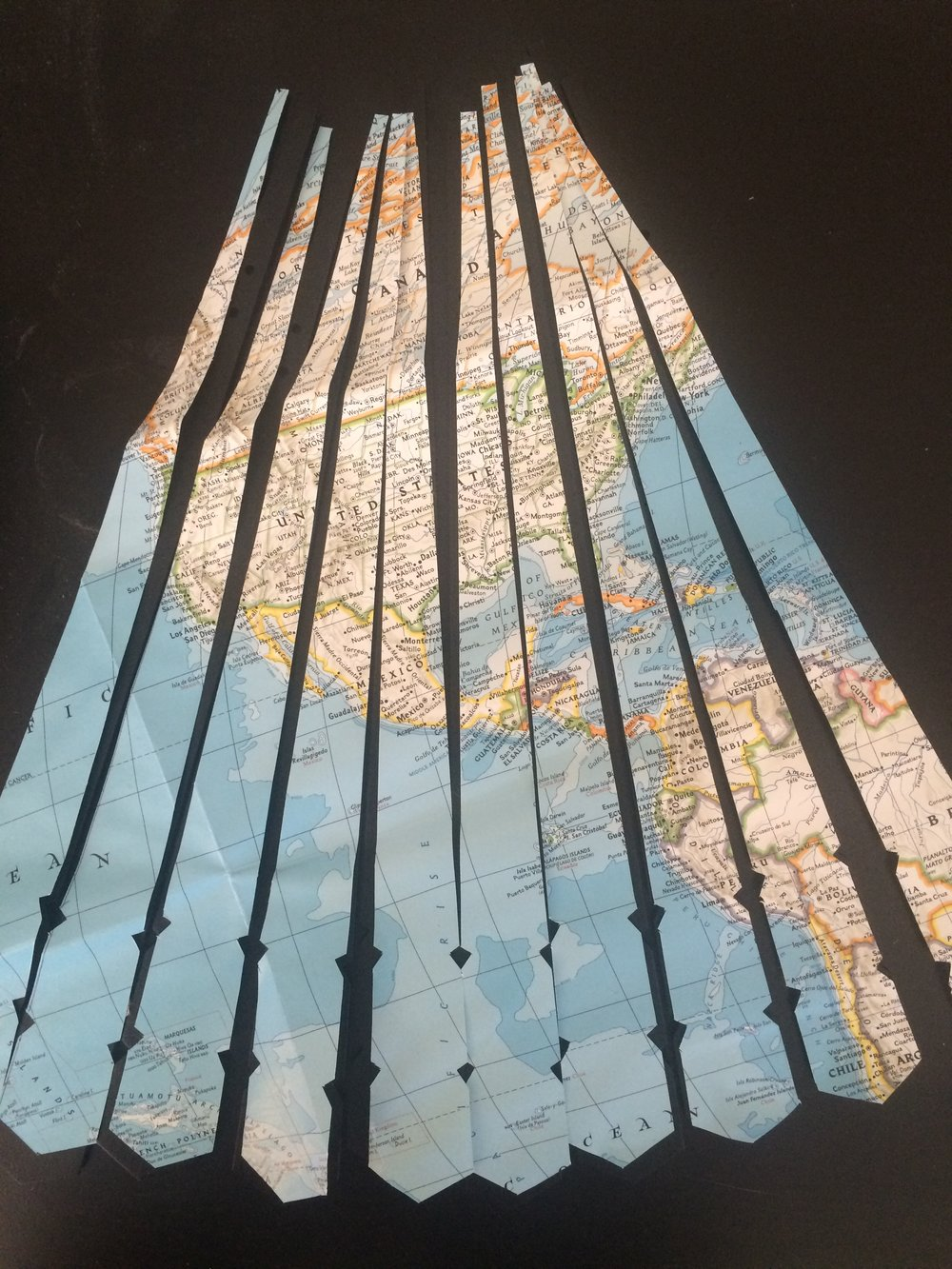 hand-trimmed map for lamp