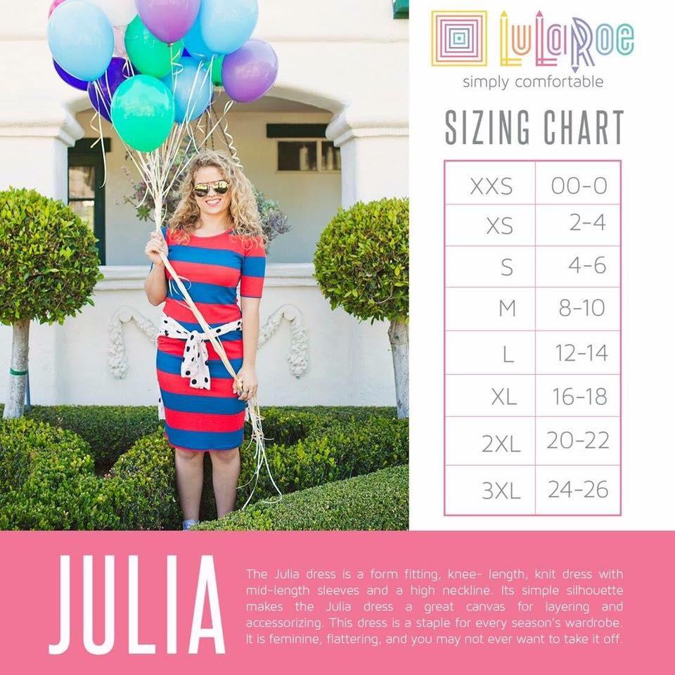 LuLaRoe Julia Size Chart
