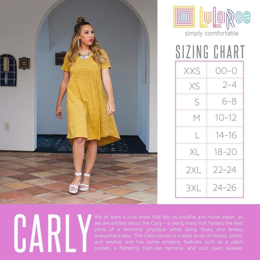LuLaRoe Carly Size Chart