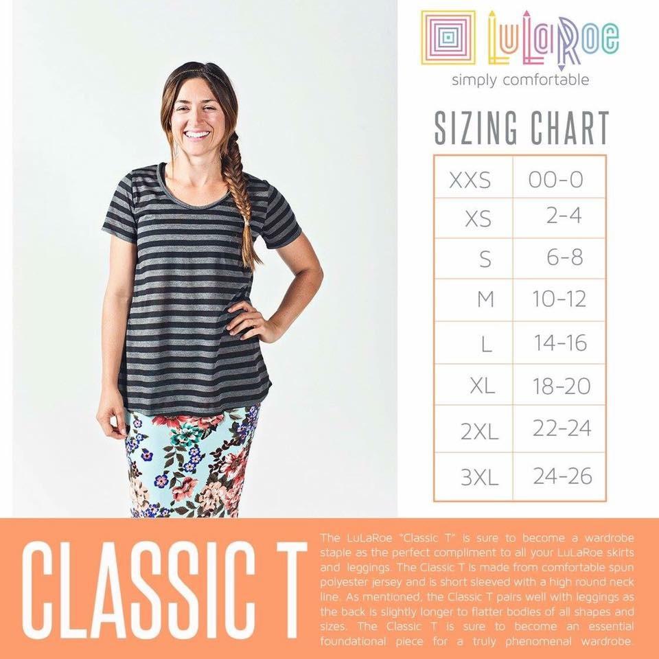 LuLaRoe Classic Size Chart