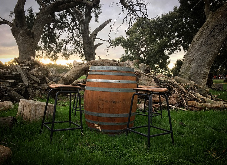 wine barrel and saddle stool.jpg