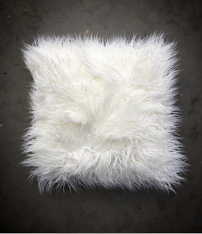 Shaggy White Cushion