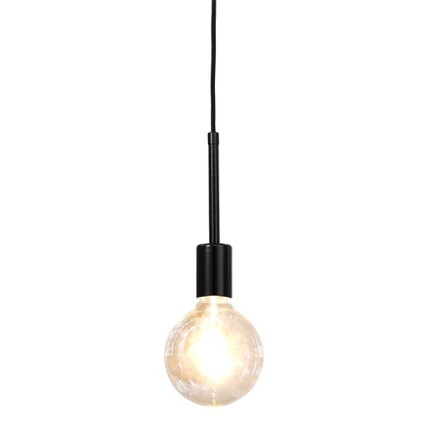 Black Pendant  Round Bulb
