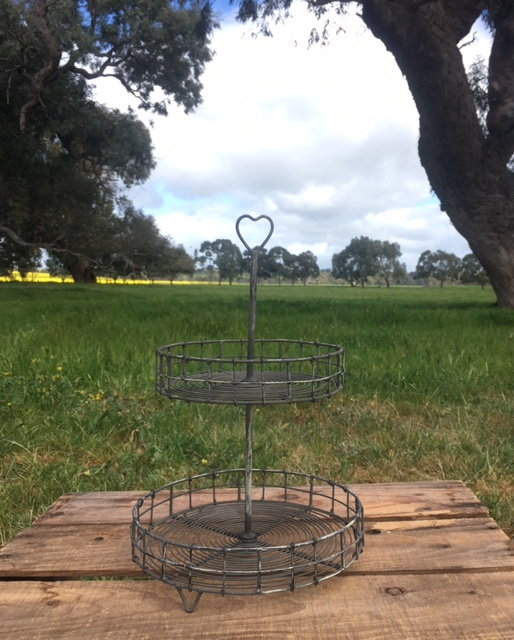 2 Tiered Wire Cake Stand  33cm x 21cm