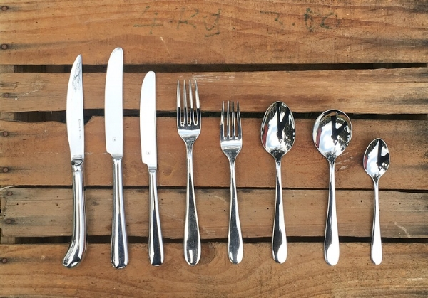 Steak Knife $1.00 each  Dinner Knife, Entree Knife, Dinner Fork, Entree Fork, Dessert Spoon, Soup Spoon, Teaspoon  All 60 cents each