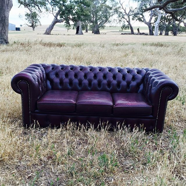 Oxblood Leather Chesterfield 3 seater  1.9m x 90cm  $130