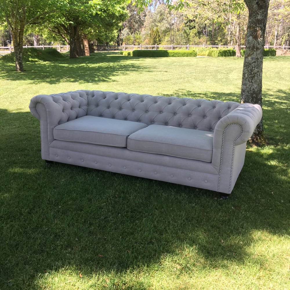 Oatmeal Chesterfield 3 Seater