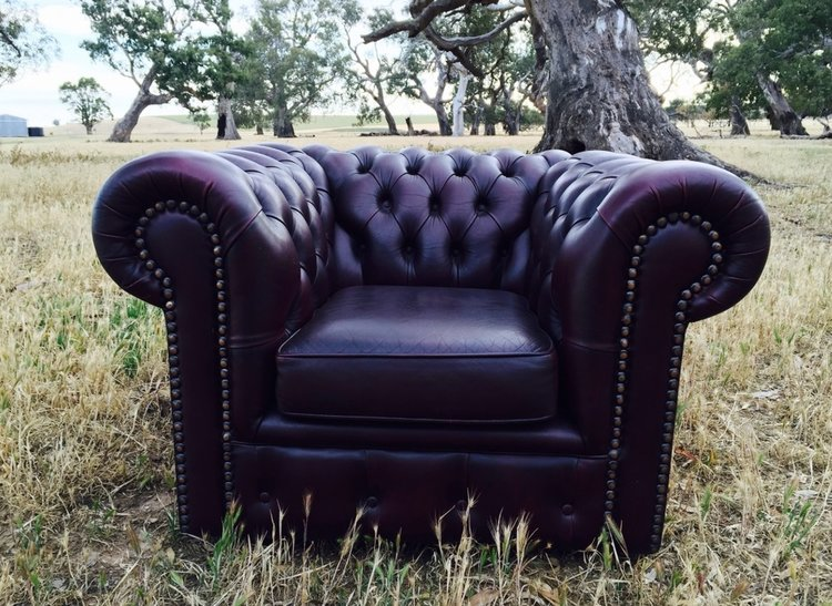 Oxblood Leather Chesterfield Armchair  1.1m x 90cm  $70