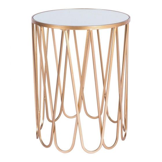Gold Side Table (Large)  H 54cm x 42cm round  $30  Qty- 1