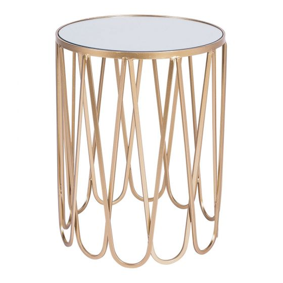 Gold Side Table (Small)  H 50cm x 38cm round  $25  Qty- 1