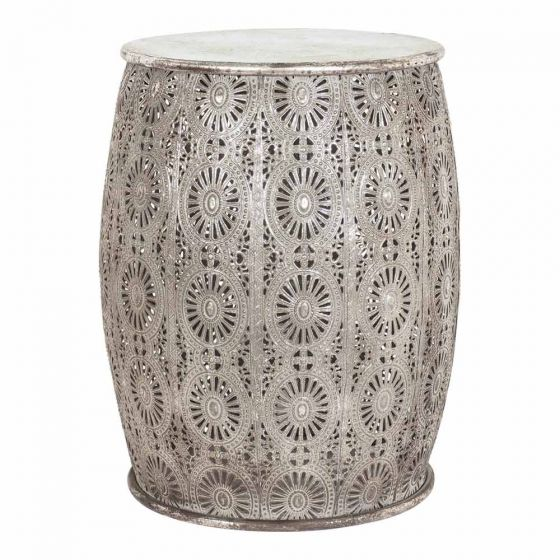 Ornate Metal Side Table  H 41.5cm x 34.5cm round  Qty- 2