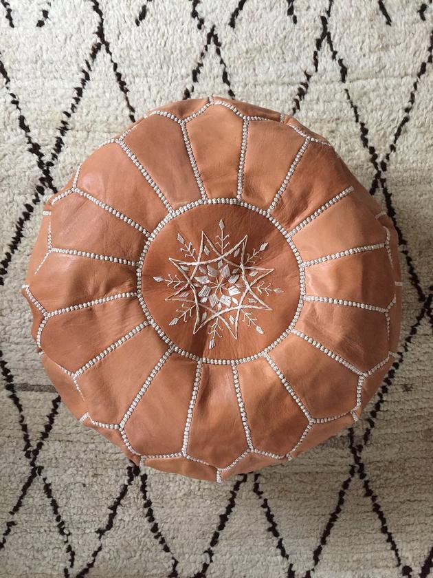 Moroccan Ottoman (Tan)  50cm round x 35cm high