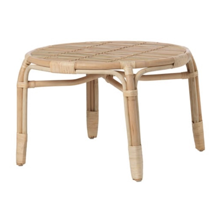 Cane Coffee Table  H 45cm x 68cm round  $25  Qty- 1