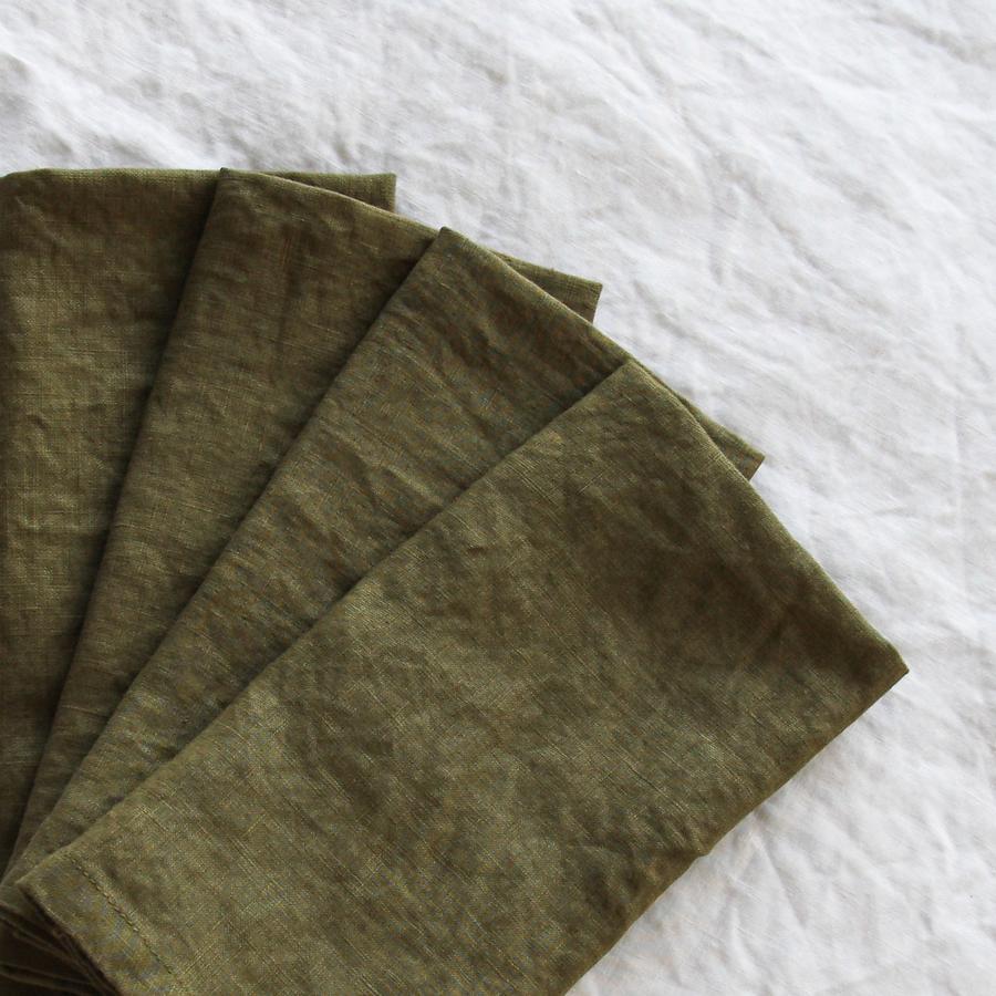 Olive French Linen Napkin  45cm x 45cm  $1.50 each