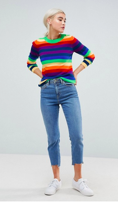 ASOS Jumper in Bright Stripe -