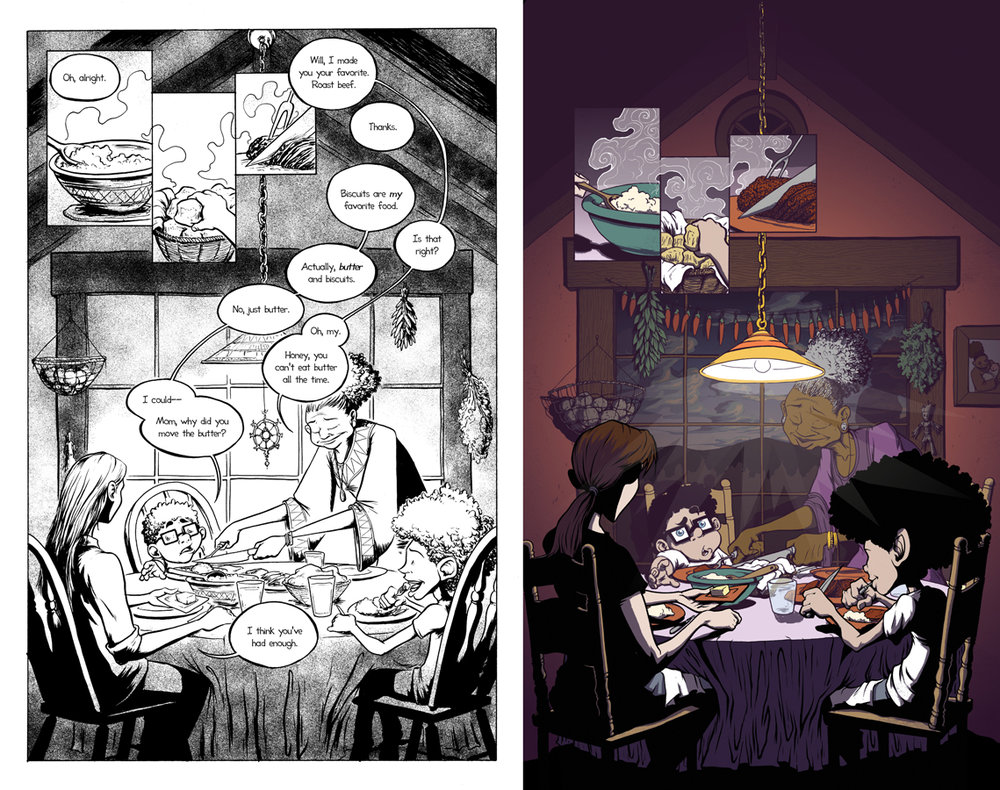 Comparison of page from 'The Early Chapters' drawn in 2014 and from the comic on Webtoons
