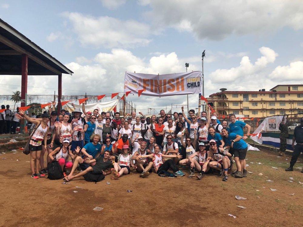 Ligne d'arrivée Marathon SIerra Leone