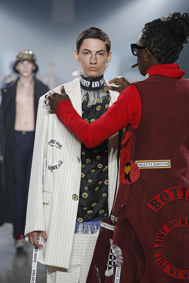 Young Thug and model with an incredible poker face both wearing  Rushemy   Botter  – VFILES Runway 7