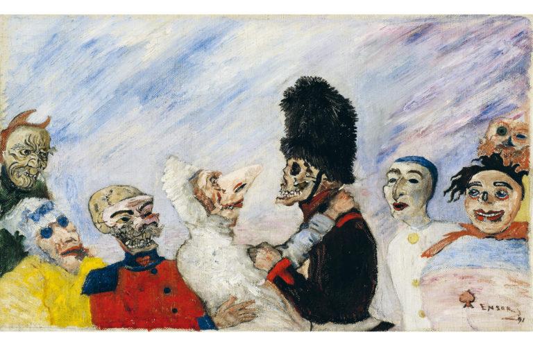"""James Ensor """"Skeleton arrests masks"""" (1891)"""