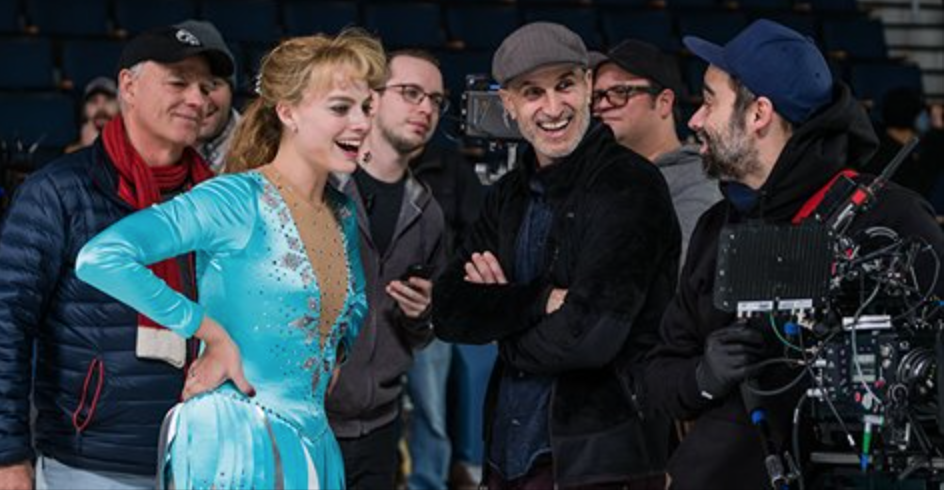 Margot Robbie, Craig Gillespie and Nicolas Karakatsanis on the set of 'I, Tonya'