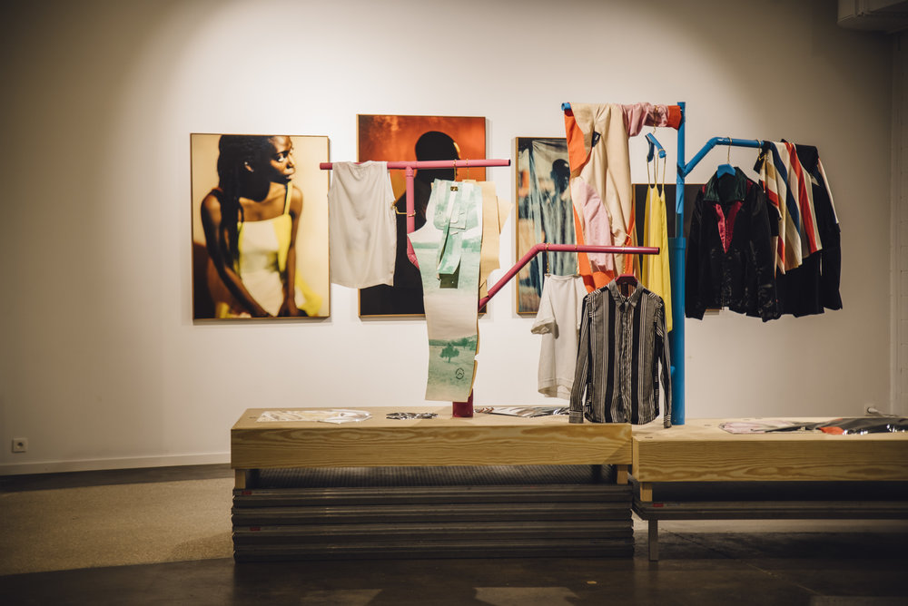 Image by Alexandra Bertels - Description: IT'S MY OWN In the background four unique prints by Nicolas Karakatsanis & Leonardo Van Dijl