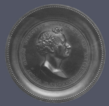 1. Louis-François Jeannest,  Portrait of Dominique Vivant Denon , 1812. Cast bronze. Diam. 151 mm. Courtesy of The Metropolitan Museum of Art, New York.