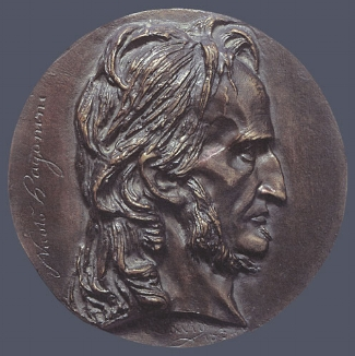 4. Pierre-Jean David D'Angers,  Niccolo Paganini , 1834. Cast bronze. Diam.: 150 mm. Private Collection, U.S.A.